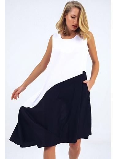 Emjey Çift Renk Asimetrik Kesim Elbise Beyaz